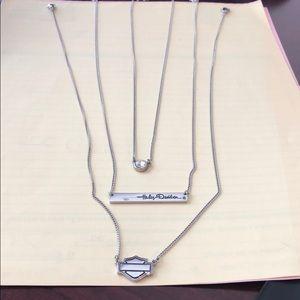 Woman Harley Davidson Silver 3 Necklace Set
